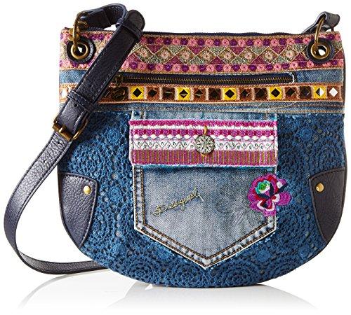 Desigual BOLS_BROOKLYN Exotic Jean, Bolso Bandolera para Mujer, Azul (5001), 1x28x32 cm...