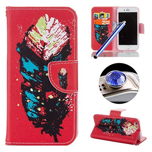 Etsue für iPhone 6S/iPhone 6 [Englisch Wort Graffiti] Leder Schutzhülle Tasche Case Muster, Bunte Retro Painted Flip Case Ledertasche Brieftasche Case Hülle Wallet Cover Handyhülle im Bookstyle mit St Blau Rot Feder