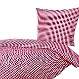 Hans-Textil-Shop Bettwäsche 135x200 80x80 cm Vichy Karo 1x1 cm Rot Baumwolle - Kariert mit Karomuster im Landhaus Stil