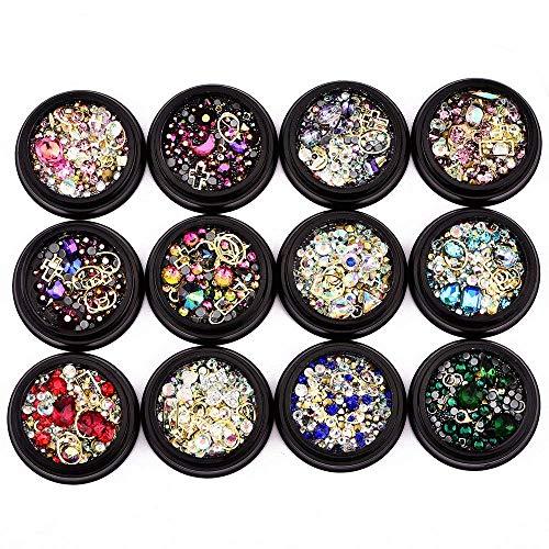 TOOGOO Paquet De 12 Couleur Mélange Art De L'Ongle Décor Accessoires Décorations Strass Diamants Cristaux Goujons En Métal Perles Gems Pour Diy Décor