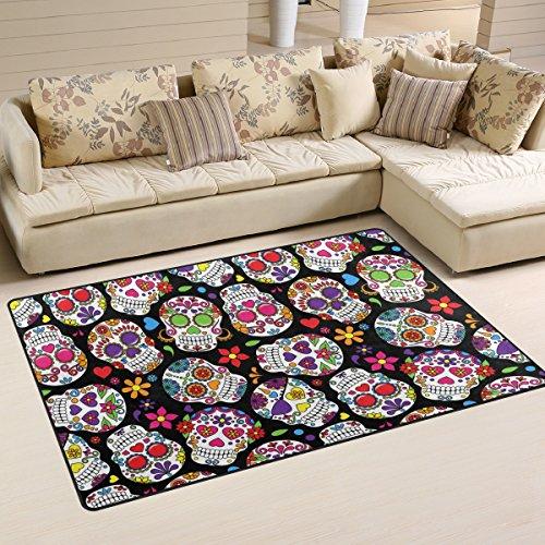 coosun Day Of The Dead Sugar Skull Hintergrund Bereich Teppich Teppich rutschfeste Fußmatte Fußmatten für Wohnzimmer Schlafzimmer 152,4x 99,1cm, Textil, multi, 60 x 39 inch