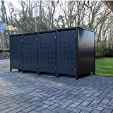 4 Mülltonnenboxen Modell No.3 für 120 Liter Mülltonnen / komplett Anthrazit RAL 7016 / witterungsbeständig durch Pulverbeschichtung / mit Klappdeckel und Fronttür