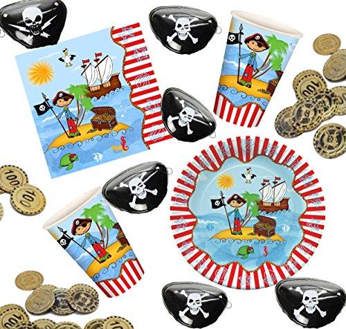 Partyset Pirat für 10 Kinder, Teller, Becher, Servietten + Münzen, Augenklappen (Münze Becher)