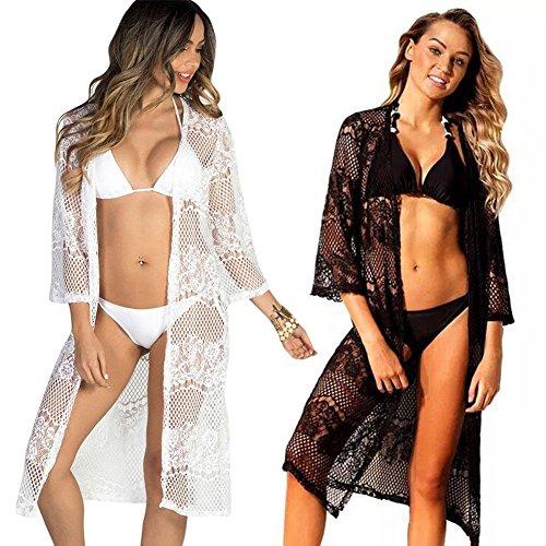 Everpert Sexy Women Summer Lace Cardigan Bikini Cover Ups Swimwear Beach Dress Tops