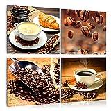 decomonkey   Bilder Küche 60x60 cm   4 Teilig   Leinwandbilder   Bild auf Leinwand   Vlies   Wandbild   Kunstdruck   Wanddeko   Wand   Wohnzimmer   Wanddekoration   Deko   Kaffee Kafe Cafe Kaffeebohnen