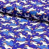 Stoff Jersey Hamburger Liebe Lenis Dream blau Einhorn Stoff zum Nähen von Kinderbekleidung