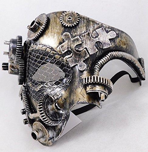 Männer Maskerade Masken - CCUFO Steampunk Halbmaske viktorianischen silbernen mechanischen