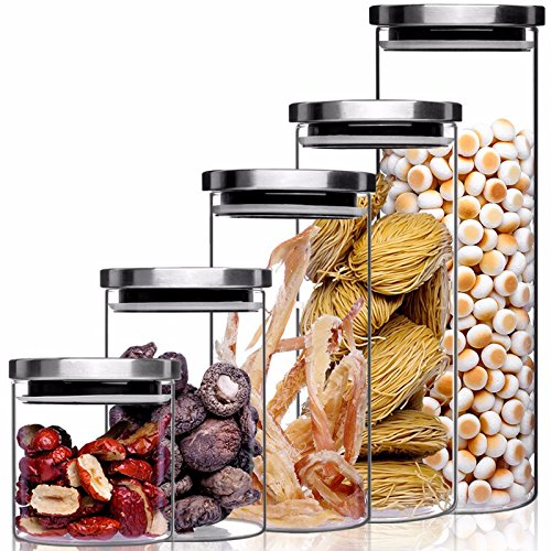 Storage Jar / Containers/storage Boxes, Stainless Steel Cover Glass Sealed Storage Dry Grain Jar Glass Jar Canister Bottle Seal Pot, Set Of 5