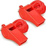 Hipat Red Emergency Whistles with Lanyard, Loud Crisp Sound, 2 Packs Plastic Whistles Ideal for Lifeguard, Self-Defense and E