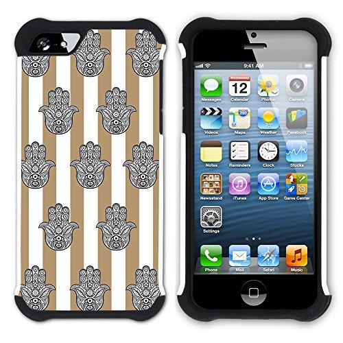 Graphic4You Monogramm Hamsa Hand der Fatima Streifenmuster (Gelb) Hart + Weiche Kratzfeste Hülle Case Schale Tasche Schutzhülle für Apple iPhone SE / 5 / 5S Hellbraun