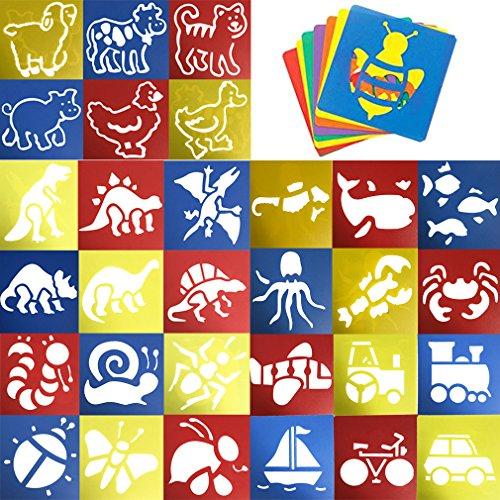 jt-amigo-lot-de-30-pochoirs-de-dessin-enfants-animaux-transport-et-dinosaures