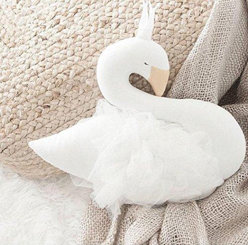 Upxiang Schwan Plüsch Schlaf Puppen Dekokissen Crown Swan Kinder Spielzeug Fotografie Requisiten Raumdekoration (Weiß)