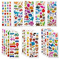 SAVITA 3D Stickers for Kids & Toddlers 500+ Puffy Stickers Variety Pack Sheets for Scrapbooking Bullet Journal Including Letters, numbers, hearts, fish, dinosaurs and More