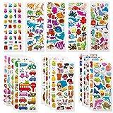 SAVITA Stickers for Kids 500+ Pack de variétés d'autocollants Puffy, Autocollants Puffy 3D Comprenant des Lettres, des Chiffres, des Papillons, du Poisson, des Dinosaures et Plus