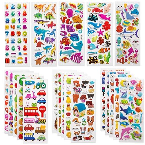 SAVITA 3D Aufkleber für Kinder & Kleinkinder 500+ Geschwollen Stickers Niedliche Verschiedene Set Buchstab en, Zahlen, Schmetterlinge, Fische, Dinosaurier und vieles mehr -