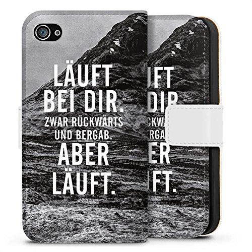 Apple iPhone SE Hülle Case Handyhülle Läuft Bei Dir Sprüche Statements Sideflip Tasche weiß