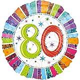paduTec Heliumballon Zahlenballon Ballon Folienballon - Glitzerballon 80 Jahre Alter Jubiläum - Happy Birthday Geburtstag Deko - mit Helium gefüllt