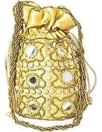 Besterbuy Handmade Golden Ethnic Mirror Work Embroidery Rajasthani Potli Bag/Clutch/Bridal Clutch/Part Wear