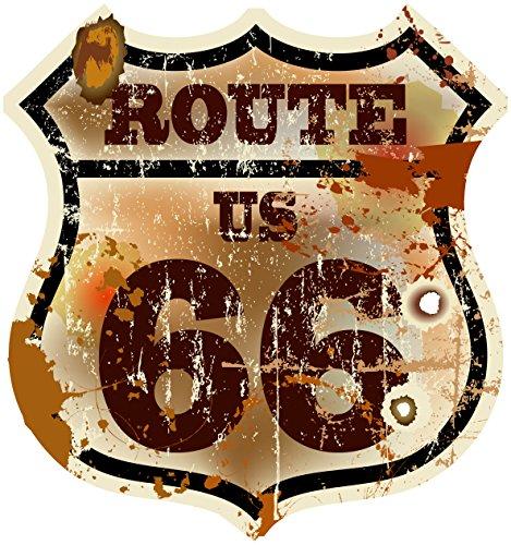Pegatinas Ruta 66de Estados Unidos Vintage Escudo Cartel adhesivo