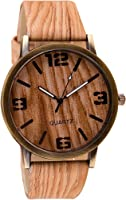 Retro Unisex Watch Quartz PU Leather Wristwatches Casual Wooden Watches Style#6