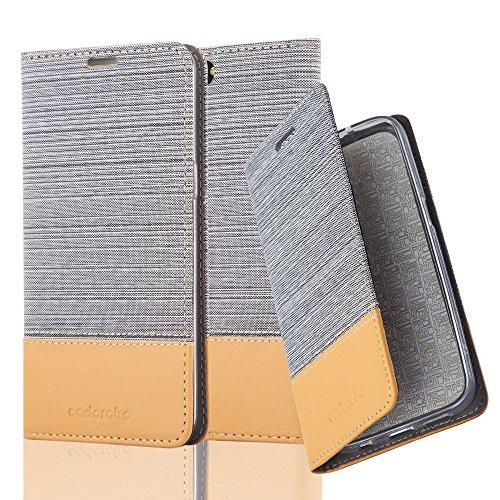 Cadorabo Hülle für OnePlus 5 - Hülle in HELL GRAU BRAUN – Handyhülle mit Standfunktion und Kartenfach im Stoff Design - Case Cover Schutzhülle Etui Tasche Book