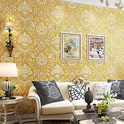 JANEW goffrato continentale stereoscopica in 3D Wallpaper rilievo goffrata living room bedroom wallpaper, spesso il riso bianco, 0,53 metri di larghezza e 10 metri di larghezza #1462 Spesso il riso bianco 0,53 metri di larghezza e 10 metri di larghezza