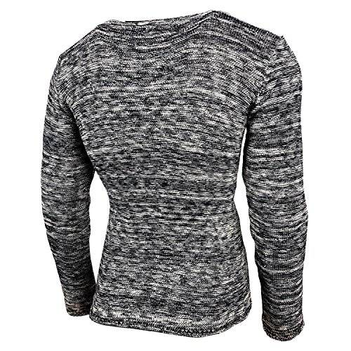 Subliminal Mode - Pull Chic Classe Fin Homme Tricot SB-13268 Petite Maille Bleu