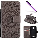 COTDINFOR Motorola Moto C Plus Protection Case For Girl Elegant Retro Flip Case Wallet PU Premium Leather Magnetic Slim Stand Covers Card Holder for Moto C Plus Gray Sunflower KT.