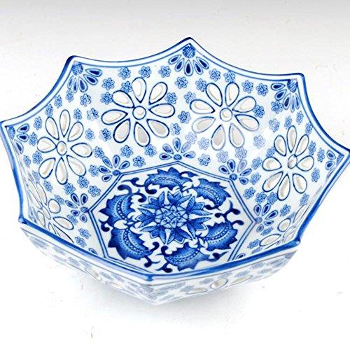 Hueco circular azul y blanco cerámica Frutero