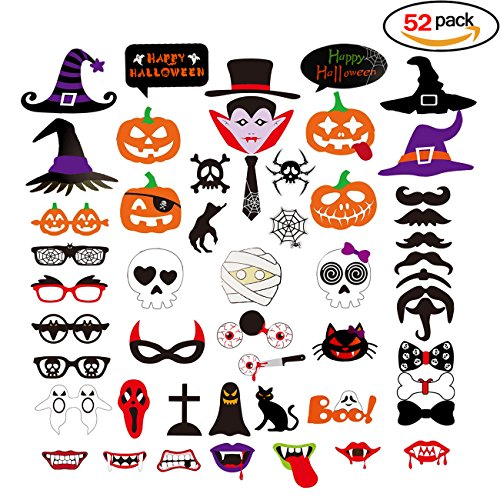 Heall 52 Piezas Mascaras Acesorios de Halloween Calabaza Sombrero Toma