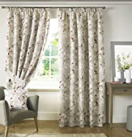 """Trailing Floral Flowers Red White Lined 90"""" X 90"""" - 229cm X 229cm Pencil Pleat Curtains by Curtains"""