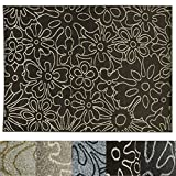 Design Teppich Flower | moderner Wohnzimmerteppich mit Trend Blumen Muster | in 2 Größen und vielen Farben für Wohnzimmer, Esszimmer, Schlafzimmer etc. | dunkelbraun 120x170 cm