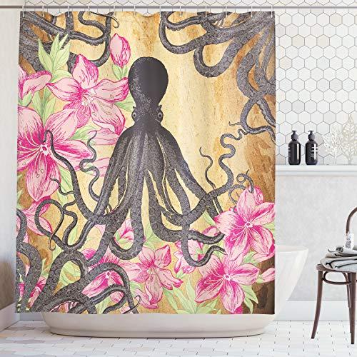 ABAKUHAUS Duschvorhang, Schwarzer Grauer Oktopus zentral über Gelb Braunen Hintergrund mit Rosa Blüten Natur, Wasser und Blickdicht aus Stoff mit 12 Ringen Bakterie Resistent, 175 X 200 cm
