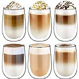 Glastal 6x350ml Verre à Double Paroi pour la Bièr,Tasse en Verre Transparent,Tasses à Latte Macchiato en Verre,Verre à Café/T