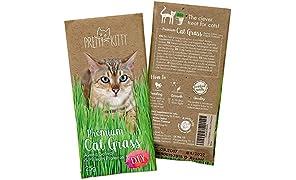 PRETTY KITTY Premium Katzengras Samen, 1 Beutel mit 25g Saatmischung für je 10 Töpfe fertiges Katzengras