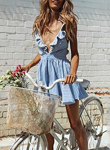 Minetom Damen Frauen Sexy Tiefe V-Ausschnitt Ärmellos Kurze Kleider Rückenfrei Hoch Taille Streifen Volant A-line Minikleid Partykleid Blau