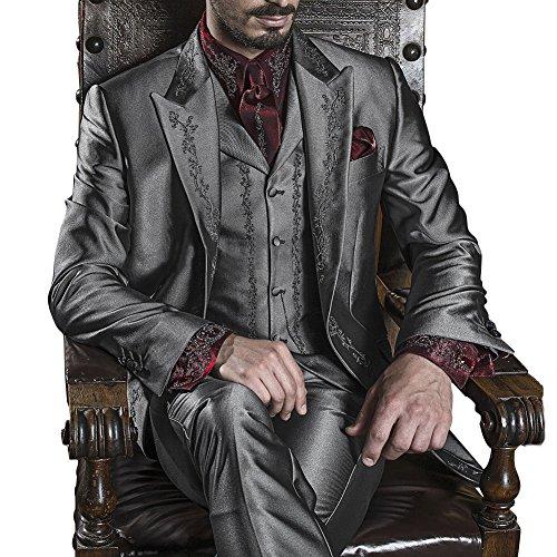 Judi Dench@ Costume Homme Hommes Parti Costume 3 pi¨¨ces veste+pantalon+gilet gris fonc¨¦