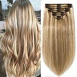 Clip in extensions echthaar Doppelt Tressen 100% Remy Echthaar 8 teiliges set Haarverlängerung dick (45cm-140g,#12/613 Hellbraun/Hell-Lichtblond)