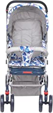 Mee Mee Baby Pram with Adjustable Seating Positions and Reversible Handle (Blue/Grey)