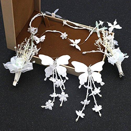 Olici Bridal Wedding Headwear/Prom Hair Pins/Headdress Accessories/Party/Girls Bridal Korean Sweet Silk Flowers Side Clip Hand Beads Wedding Accessories