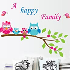 Himani Decors Wall Decal Cute Owls with Family Tree Cartoon PVC Vinyl Wall Sticker for Kids Room (133 cm x 52 cm)