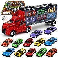 SAKYO Camión transportador, Coches Juguete para Niños, Un Total 12 Coches, Maletín portacoches - 6 Colores, Cada uno Color Tiene Dos Coches, Camión transportador para regalos del día de los niños, regalos de cumpleaños, varios regalos de vacaciones