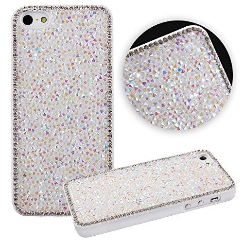 iPhone 6Plus Case, Luxus Glitzer Glänzend Bling Sparkle Schutzhülle für iPhone 6Plus 14cm, uzzo Nieten Strass Diamant Bling Kristall Hard Case Skin Cover für iPhone 6Plus, Diamond:White (Sony Fit 14)