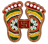 #10: DEEP Hand Crafted Red Laxmi Charan with Swastik Stone Studded Acrylic Sticker for Floor or Wall Decoration - 1 Pair