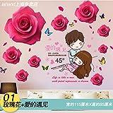 Hongrun Girl's Kinder Bett Zimmer Wandaufklebern Schlafzimmer Kreative Poster Art Deco Wallpaper Selbstklebend, 88 * 115 cm, C