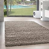 Unbekannt Shaggy Hochflor Langflor Teppich Wohnzimmer Carpet Uni Farben, Rechteck, Rund, Größe:140x200 cm, Farbe:Taupe