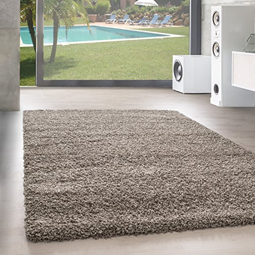 Shaggy Hochflor Langflor Teppich Wohnzimmer Carpet UNI Farben, Rechteck, Rund,. , Größe:200x200 cm Quadrat, Farbe:Taupe