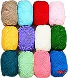 #1: Vardhman Bunny 12 pc combo Wool ball hand knitting yarn / art craft soft fingering crochet hook yarn, needle knitting yarn thread dyed