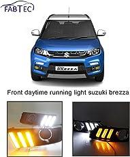 Fabtec LED Light for Maruti Vitara Brezza Front Daytime Running Light with Yellow Turn Signal (3 Line Design)
