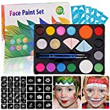 Beetest ES Pintura de Cara para Niños, El Kit De Pintura Safe Body Face Painting Incluye 14 Colores 2 Brillos 2 Pinceles 4 Esponjas 9 Plantillas para NiñOs Halloween Cosplay Party Makeup